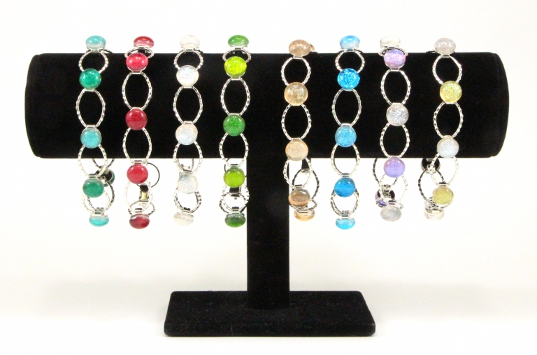 Dichroic Fused Glass Jewelry link bracelets