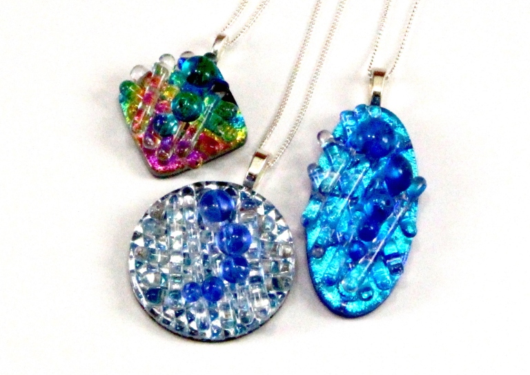 Dichroic Fused Glass Jewelry - nested pendants