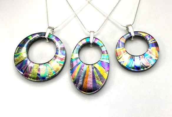 mosaic donut pendant - Dichroic Fused Glass Jewelry