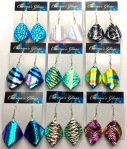 Curved Dangle Earrings - Dichroic Fused Glass Jewelry