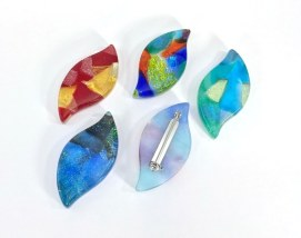 Dichroic Fused Glass brooches